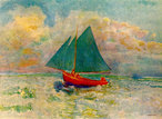 Odilon Redon - Red Boat with Blue Sail